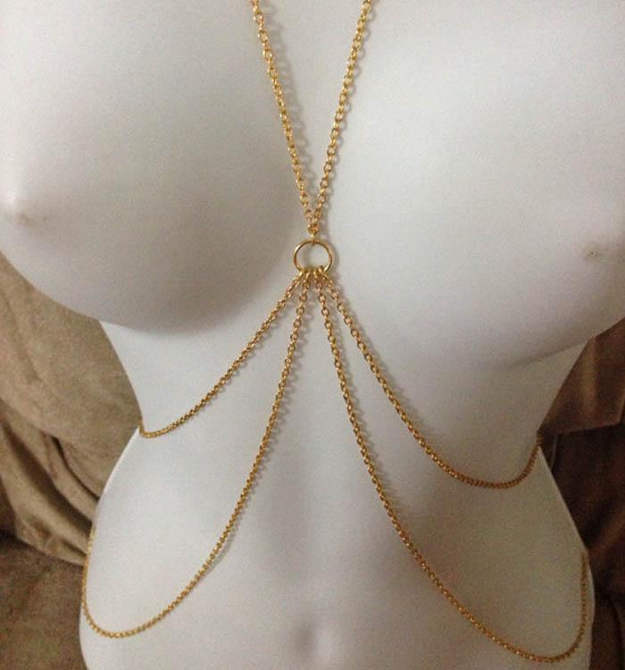 High Quality Sexy Womens Cross Harness Bikini Necklace Belly Waist Body Chains R