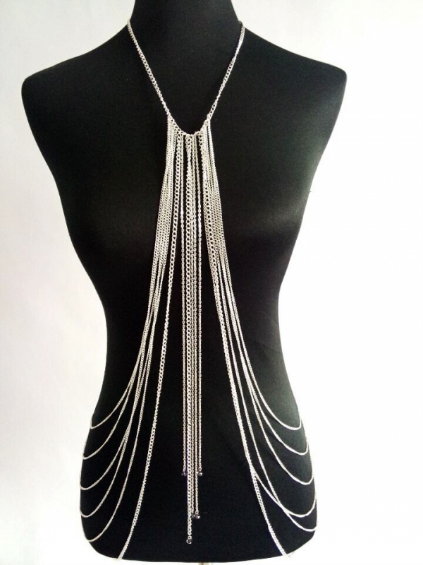 Vtg Sexy Womens Layered Tassel Harness Bikini Necklace Belly Waist Body Chains B