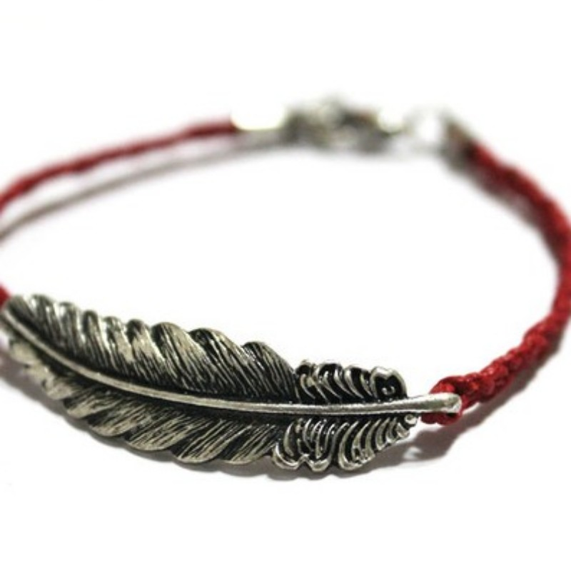 New Women Feather Jewelry Chain Plated Hand-Woven Gift Fashion Bracelet Bangle B