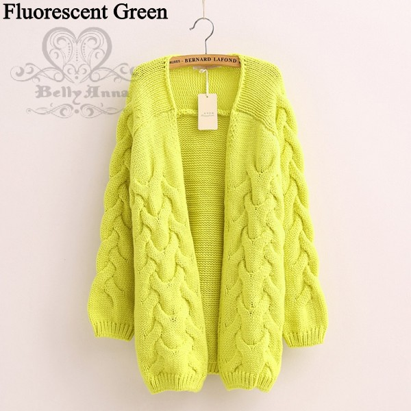 Women Cable Knit Tops Chunky Open Front Cardigan Candy Colorful Jumper Sweater B
