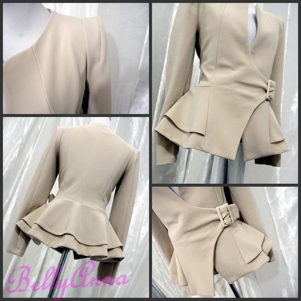 Elegant OL High Quality Slim Cut Belted Pea Coat Jacket Blazer Suit