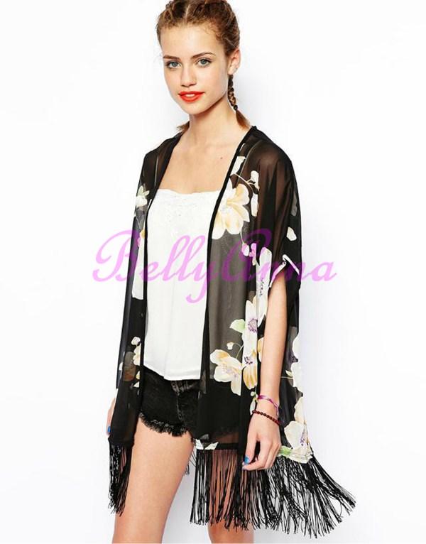 Retro Ethnic Fringe Floral Boho Kimono Cardigan Tassel Shirt Blouse Top Jacket D