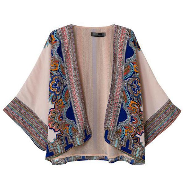 Elegant Flower Print Vintage Aztec Tribal Open Front Kimono Coat Blazer Jacket B