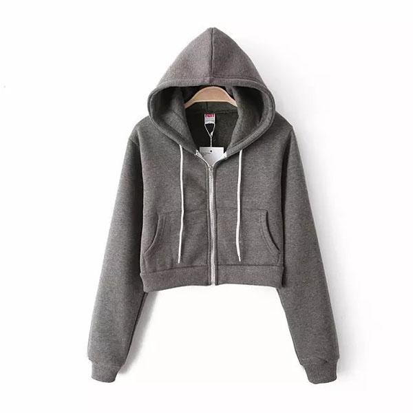 Cute Women Candy Cropped Hooded Hoodie Slim Jacket Outwear Outwear Casual Coat B