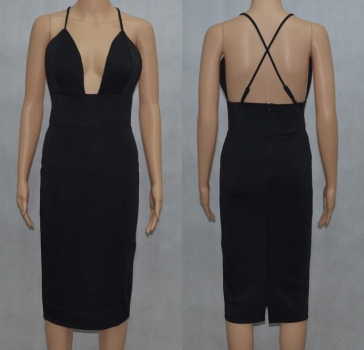 Sexy Women Plunge Deep Vneck Backless High Waist Pencil Mid Sheath Club Dress C