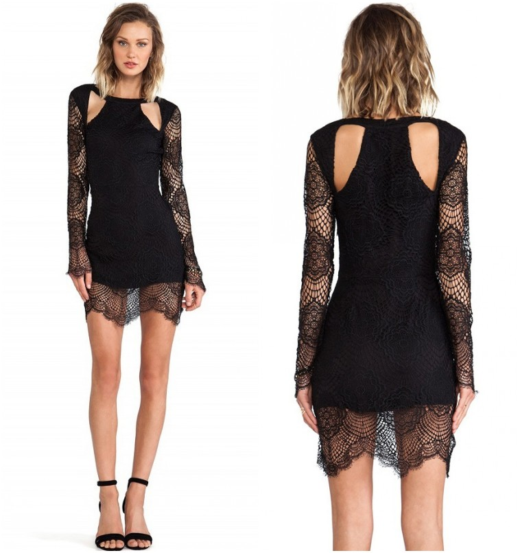 Sexy Keyhole Cutout Backless Crochet Lace Bodycon Cocktail Party Dress Clubwear