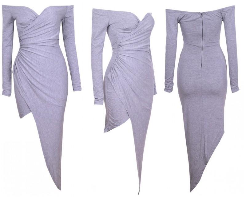 Sexy Off Shoulder Deep Vneck High Low Asymmetric Rush Drape Jersey Long Dress B