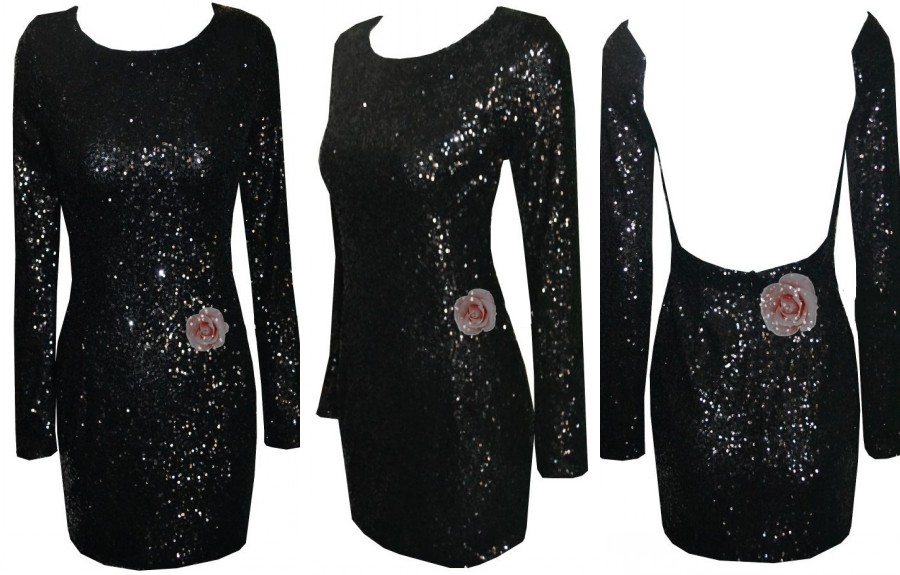 Stunning Luxury Sequin Sexy Open Backless Bodycon Bandage Club Cocktail Dress D