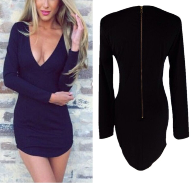 Sexy Women Plunge Deep V Neck Bodycon Sheath Cocktail Club Party Casual Dress B