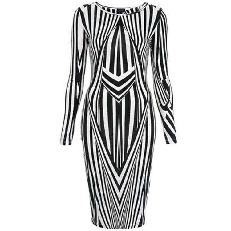 Sexy Womens Zebra Striped Empire Bodycon Pencil Night Party Casual Midi Dress C