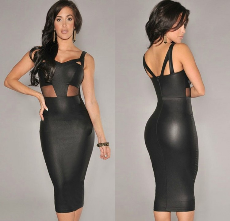 Lady Sexy Plunge Open Back Sheer Mesh Cut Out Bodycon Stretch Night Club Dress C