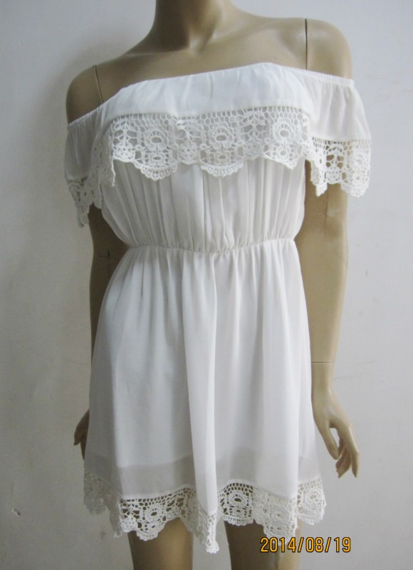 Sexy Women Off Shoulder Frilled Ruffled Crocheted Lace Club Beach Party Dress Z