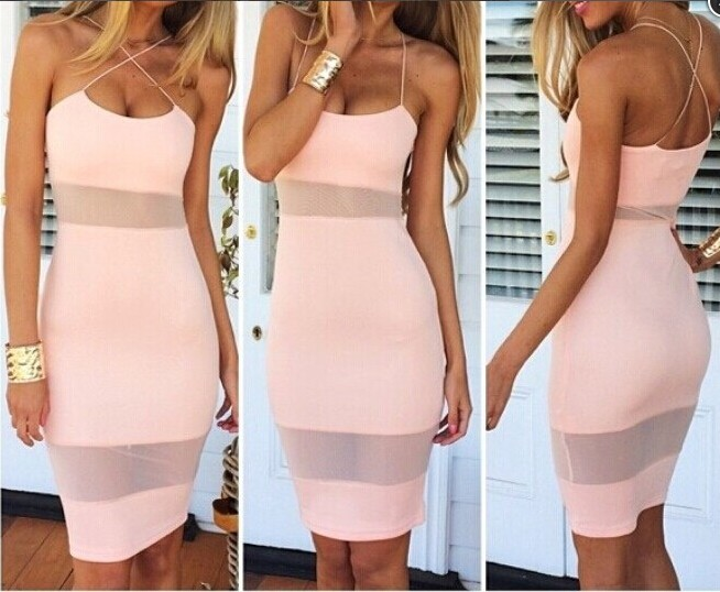 Sexy Women Strap Contrast Mesh Bodycon Party Cocktail Pencil Dress Clubwear B