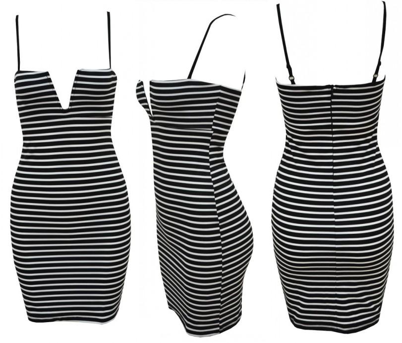 Sexy Plunge Deep Vneck Strap Bodycon Sheath Striped Cocktail Club Party Dress B