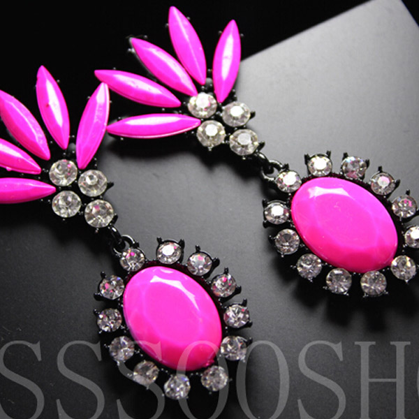 Fashion Rhinestone Bohemian Statement Drop Sparkle Colorful Dangle Earrings C