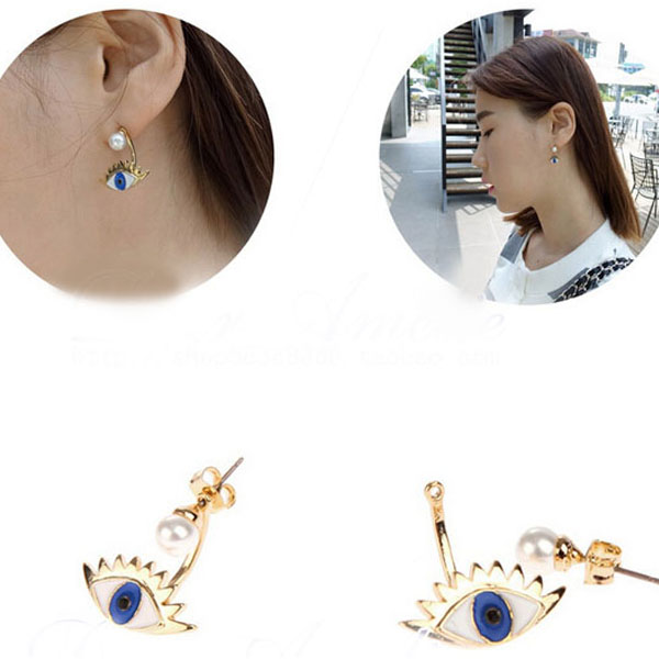 New Cute Eyes Pearl Plated Gold Alloy Jewelry Pierced Sparkle Dangle Earrings B
