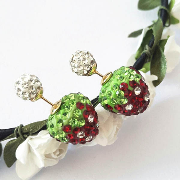 Lovely Berries Lady Crystal Ball Stud Pierced Eve Cocktail Party Prom Earrings E