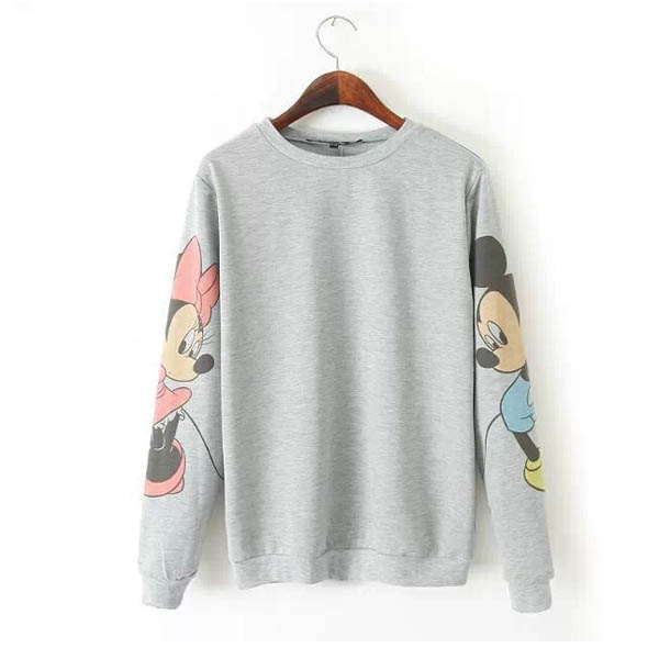 Hot Mouse Print Casual Top Loose Sweater Hoody Boyfriend T Shirt Sport Blouse B