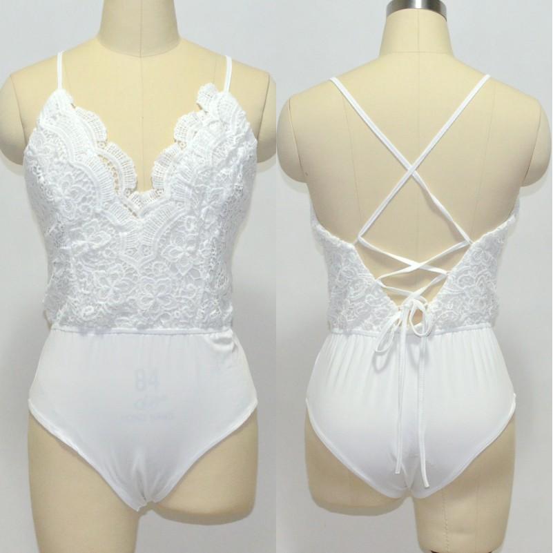 Sexy Women Lace V Neck Spageghtti Strap Backless Cross Bodysuit Bottom Playsuit