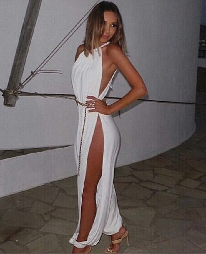 Sexy Women Halter High Slit Wide Palazzo Jumpsuit Romper Beach Disco Clubwear B