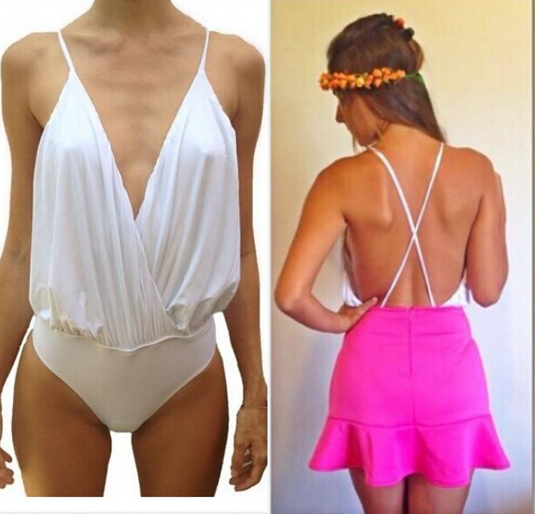 Women Sexy Cami Vest Plunge Wrap Backless Blouse Bodysuit Romper Club Jumpsuit B