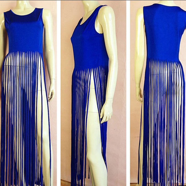 Lady Sexy Tassel See Thru Bodycon Vest Maxi Long Eve Cocktail Party Club Dress C