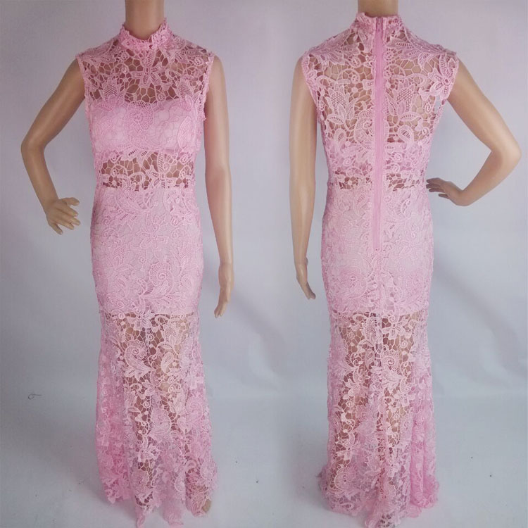 Sexy Women Crocheted Lace Embroidered See Thru Mermaid Bodycon Maxi Long Dress B