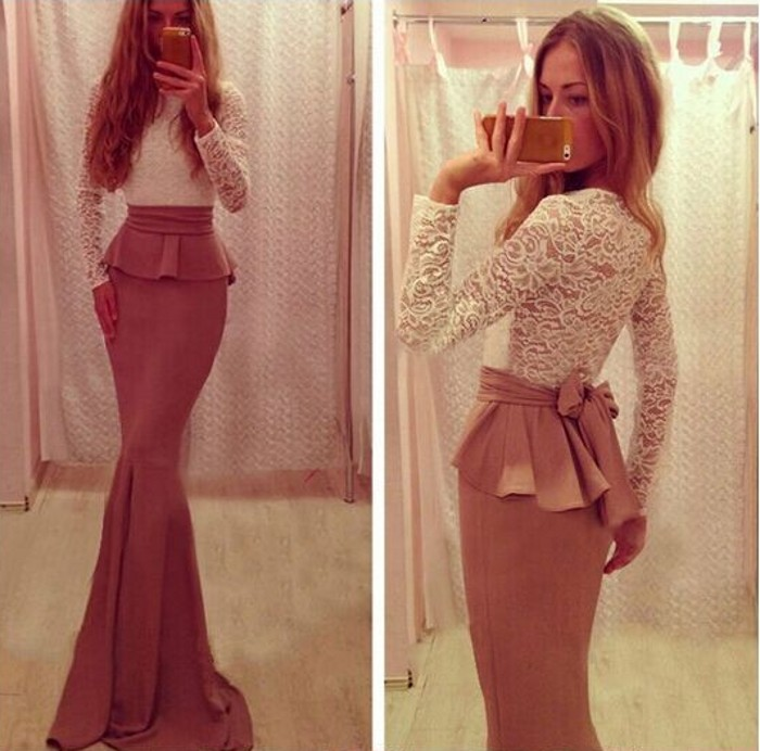Women Sexy Slim Lace Peplum Belt Top + Stretch Mermaid Frill Floor Long Skirt B