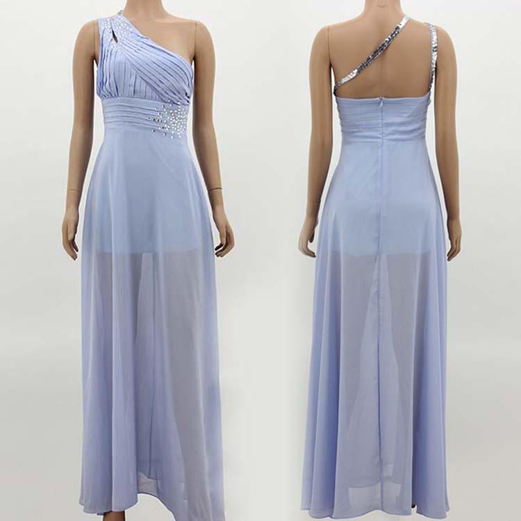 Women Sexy One Shoulder Backless Stud Empire Long Floor Ballgown Wedding Dress C