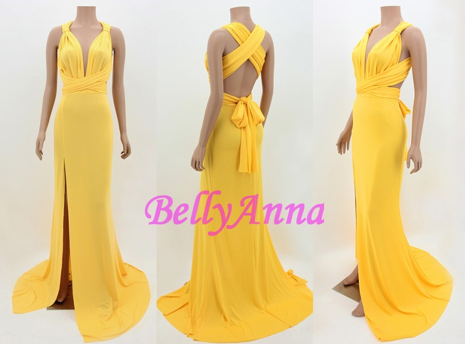 Sexy Lady Bow Open Back Slit Cross Bandage Eve Party Prom Ball Gown Long Dress C