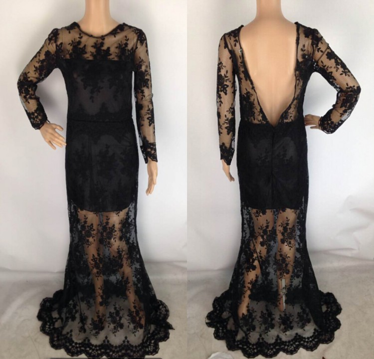 Sexy Lace Embroidered Open Backless See Thru Mermaid Prom Maxi Long Gown Dress C