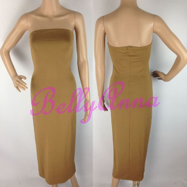 Sexy Strapless Tube Stretch Bodycon Bandage Club Casual Party Maxi Long Dress B