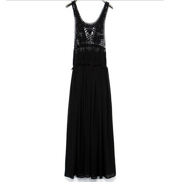 New Strap Low Cut See Thru Lace Flare Frill Open Back Party Holiday Long Dress C