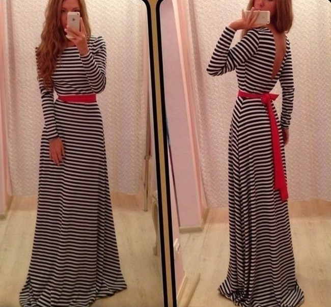 Women Classic Striped High Waist Backless Prom Cocktail Long Gown Maxi Dress R