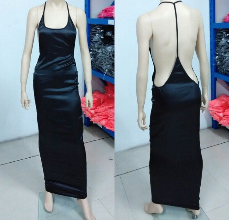 Sexy Lady Vtg Halter Plunge Backless Bodycon Evening Cocktail Party Long Dress C