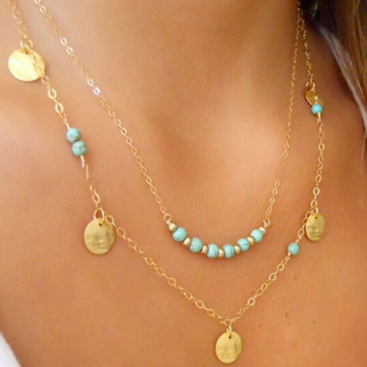 Sexy Charming Sequins Multilayer Choker Chain Cocktail Casual Jewelry Necklace C