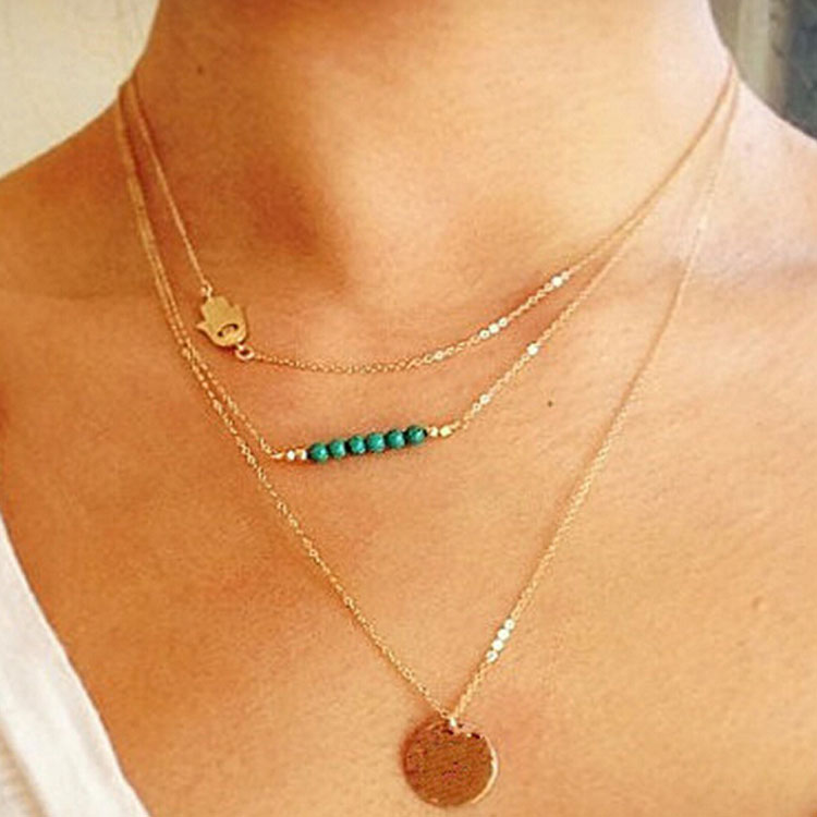Sexy Charm Hamsa Hand Multilayer Choker Chain Cocktail Casual Jewelry Necklace C