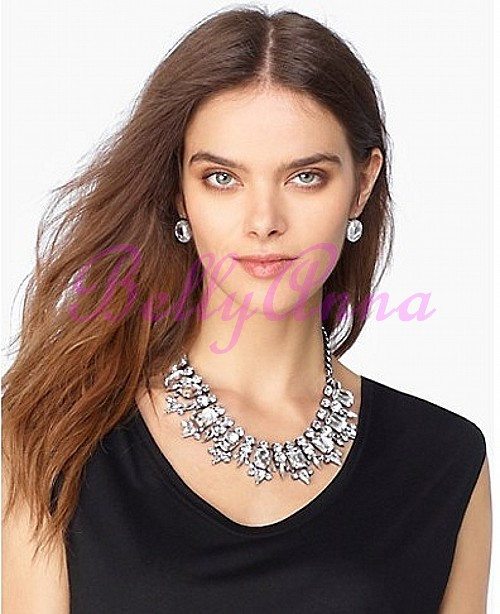 Украшения на шею Luxurious Crystal Stones Pendants Embellished Necklace White.