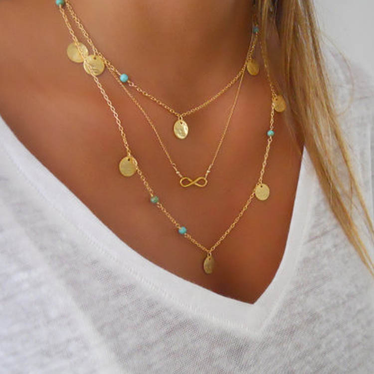 Sexy Womens Bohemian Sequins Multilayer Choker Chain Cocktail Jewelry Necklace C