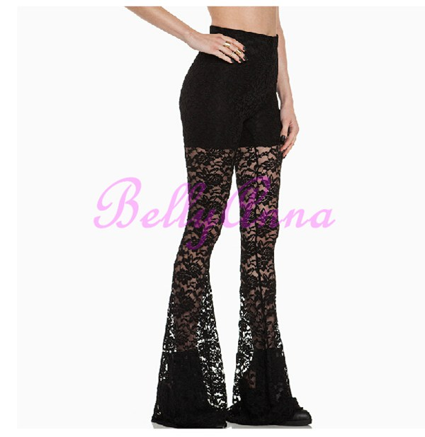 Cut Out Lace Crochet Shift Flared Trousers Slim Bell-Bottoms Club Party Pants D