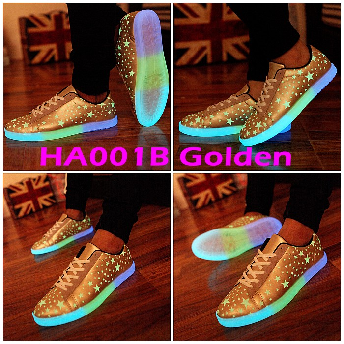 Men Women Glow USB Charger LED Light Sneaker Dancer Club 7 Colors in 1 Shoes X
