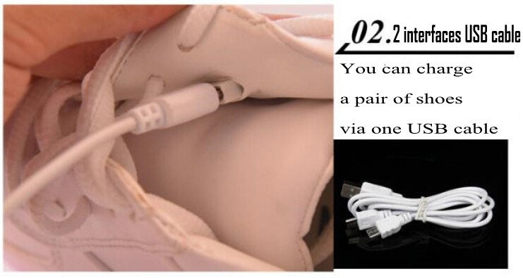 Unisex Men Women USB Charger LED Light Sneaker Dancer Club 7 Colors in 1Shoes C