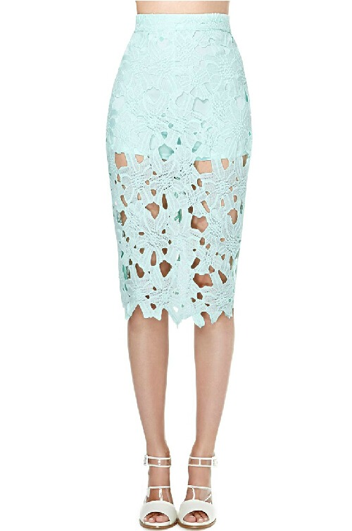 Lovely Floral Crochet Splice Hollow Sexy Layered Lined Party Mini Pencil Skirt B
