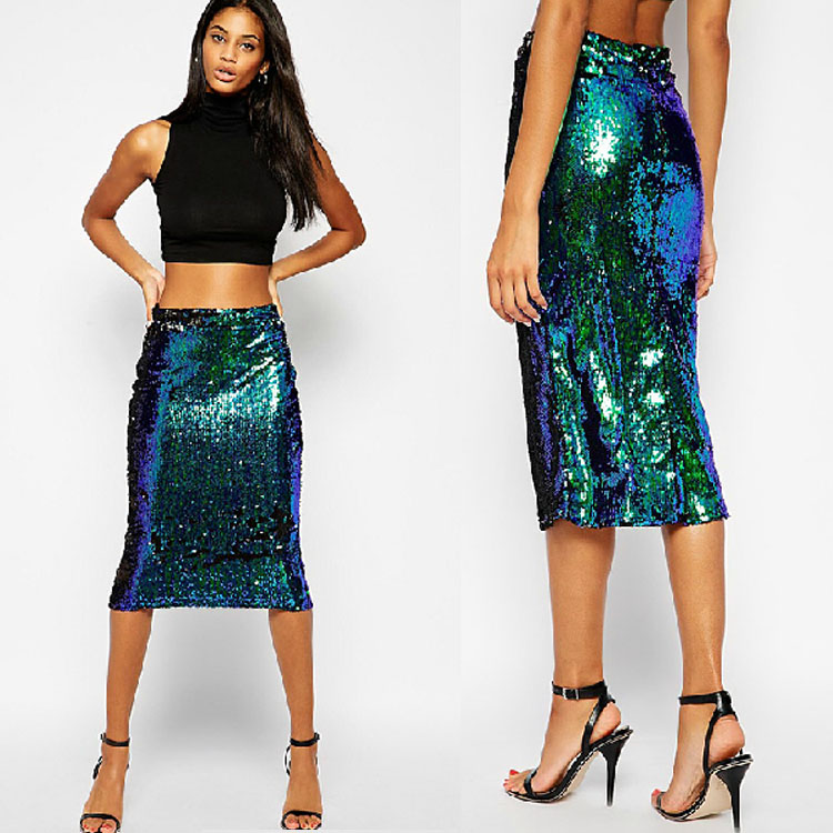 Sexy Lady Stunning Sequin High Waist Bodycon Eve Ball Gown Prom Cocktail Skirt B