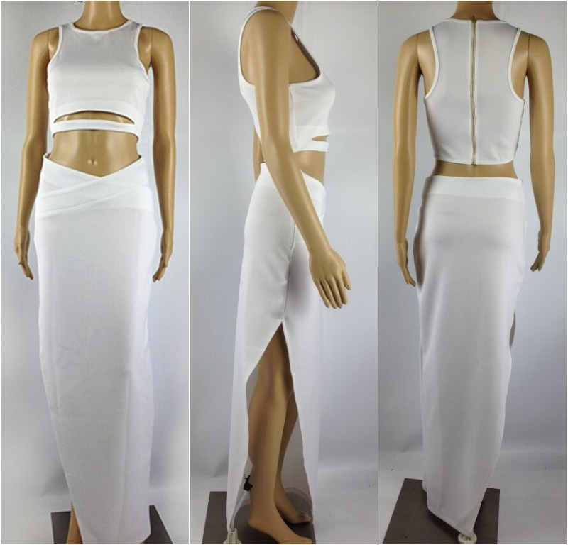 Sexy Cutout Crop Tank Top Blouse+Empire Bodycon Asymmetric Hi Low Long Skirt B