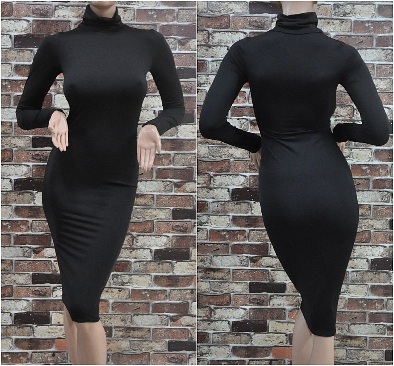 Women Bodycon Turtleneck Slim Pencil Casual Work Sheath Sexy Club Party Dress B
