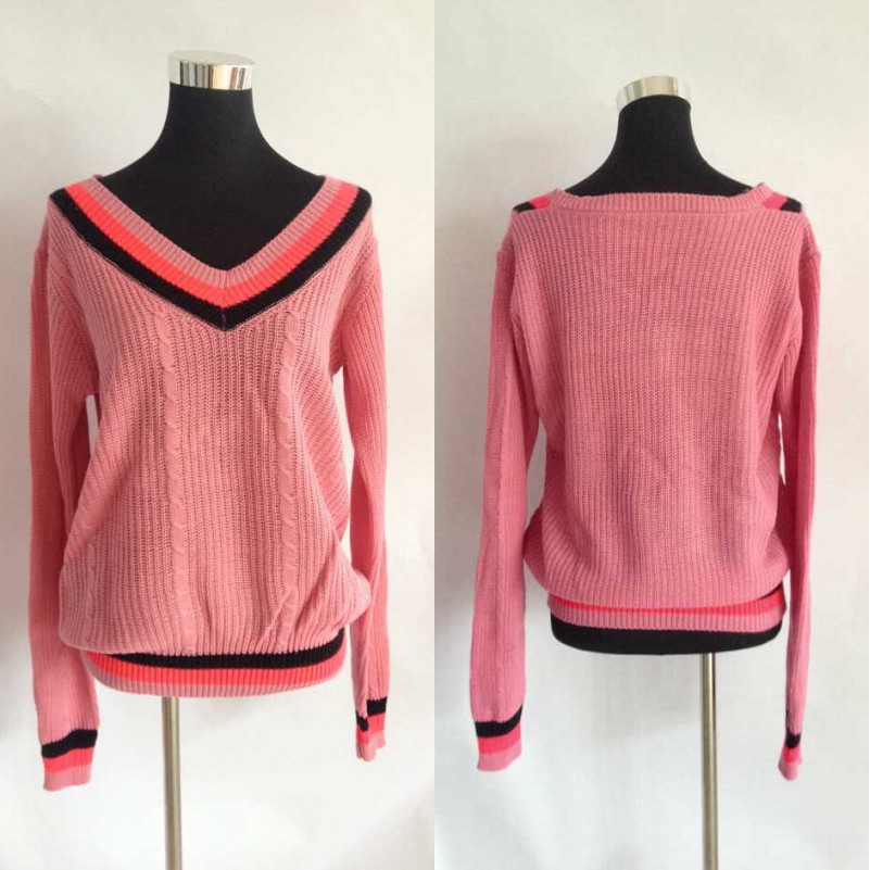 Women Pullover Soft Knit Top Cable V Neck Loose Knitwear Casual Sweater Jumper B