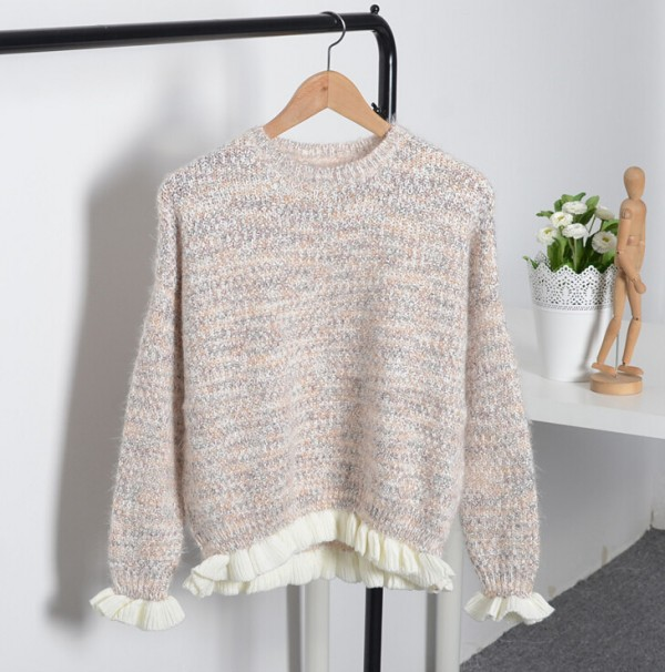 Women Loose Round Neck Chunky Knit Top Pullover Casual Knitwear Sweater Jumper C