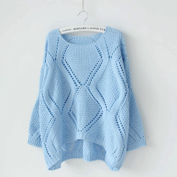 Women Chunky Round Neck Loose Knit Tops Pullover Casual Knitwear Sweater Jumper