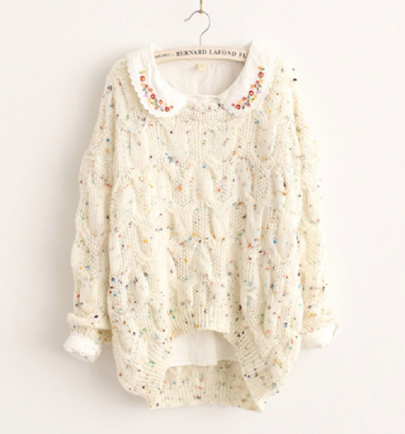 Women Cute Chunky Knit Tops Pullover Loose Cable High Low Jumper Party Sweater B